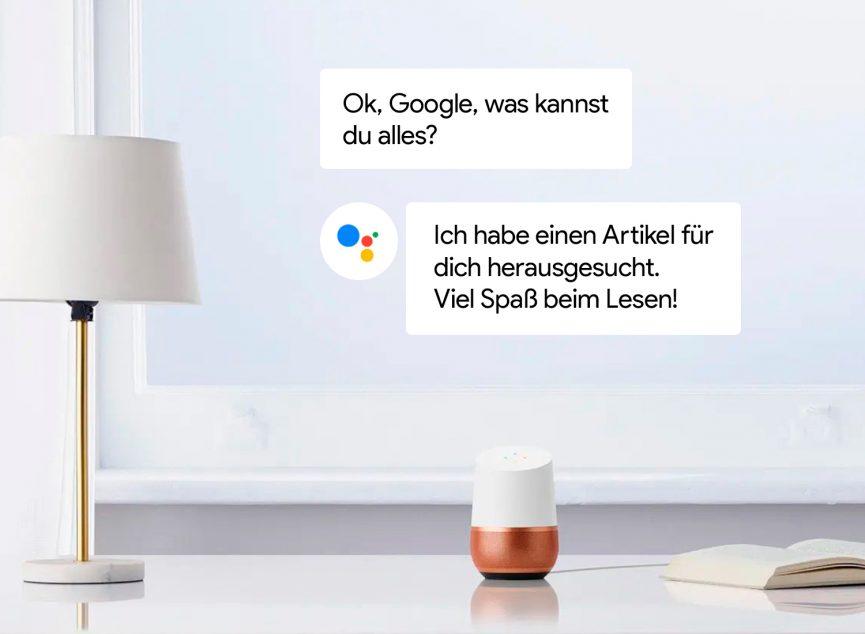 Google Home Sprachassistent beantwortet smart die Fragen.